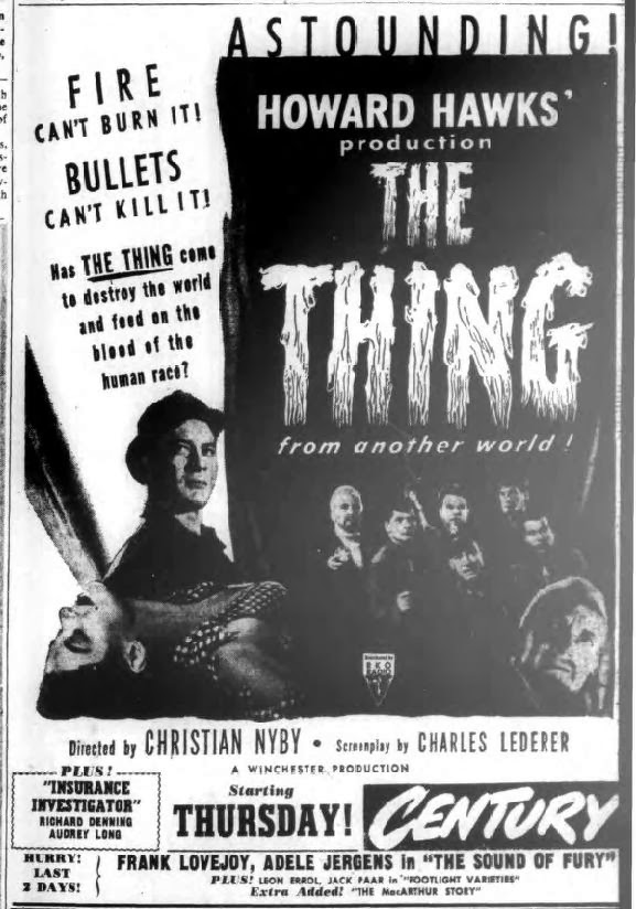 1950's ad for The Thing From Another World (1951)