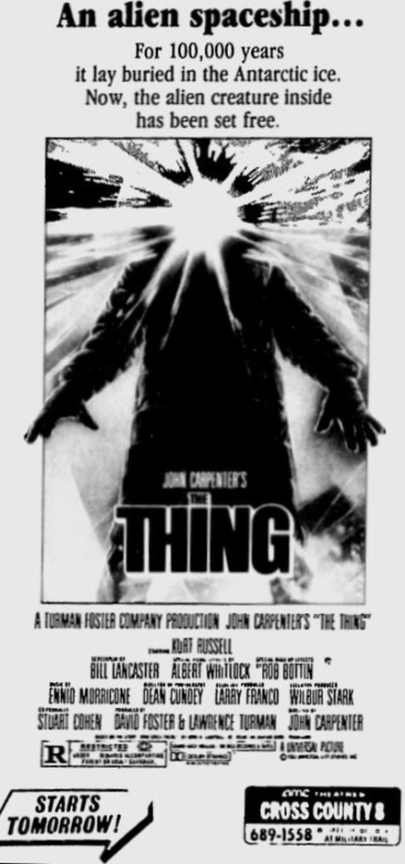 1980's newspaper ad for The Thing (1982)