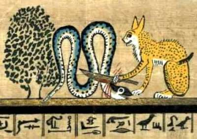 The goddess Bast execrating the Serpent in the form of a cat